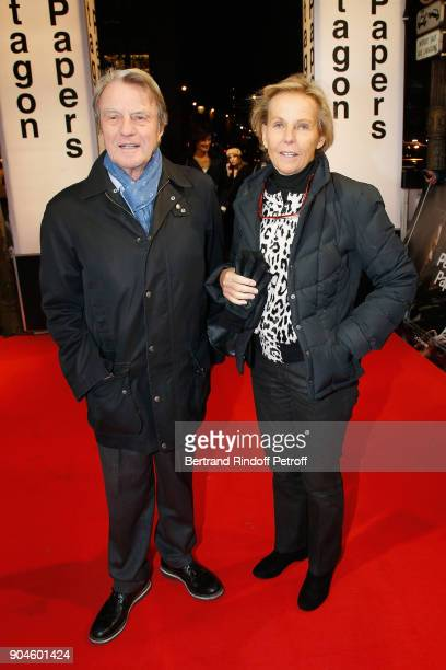 French Politician Bernard Kouchner and his wife Journalist Christine Ockrent attend the 'Pentagon Papers' Paris Premiere at Cinema UGC Normandie on...