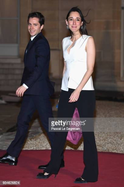 French Politician Brune Poirson and a guest attend a State dinner hosted by French President Emmanuel Macron and Brigitte Macron at the Elysee Palace...