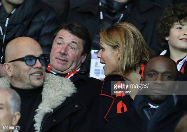 French politician Christian Estrosi and his wife Laura Tenoudji attend the French Ligue 1 match between Paris SaintGermain and OGC Nice at Parc des...