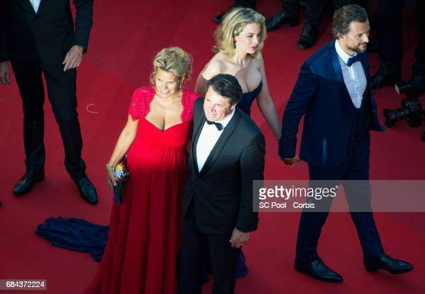 French politician Christian Estrosi and Laura Tenoudji attend the 'Ismael's Ghosts ' screening and Opening Gala during the 70th annual Cannes Film...