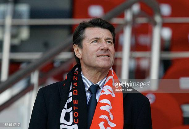 French Politician Christian Estrosi attends the French League 1 between Paris SaintGermain FC and OGC Nice at Parc des Princes on April 21 2013 in...