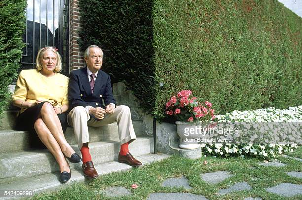 French politician Edouard Balladur and his wife MarieJosephe sit outside their home in DeauvillelesBains France Balladur would become prime minister...