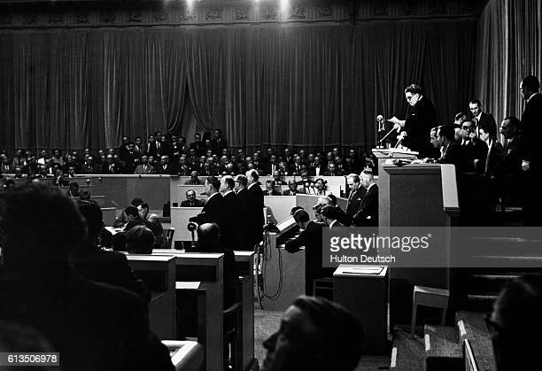 French Politician Edouard Herriot addresses the inaugural meeting of the Council of Europe at Strasbourg University in 1949.