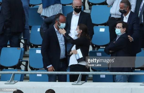 French politician Edouard Philippe and Sports Minister Roxana Maracineanu attend during the friendly match between HAC Le Havre and Paris Saint...
