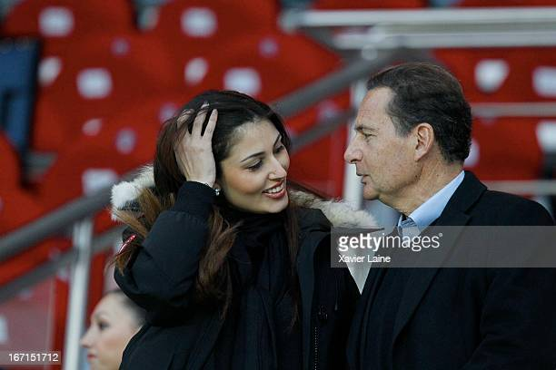 French Politician Eric Besson and Yasmine Tordjman attend the French League 1 between Paris SaintGermain FC and OGC Nice at Parc des Princes on April...