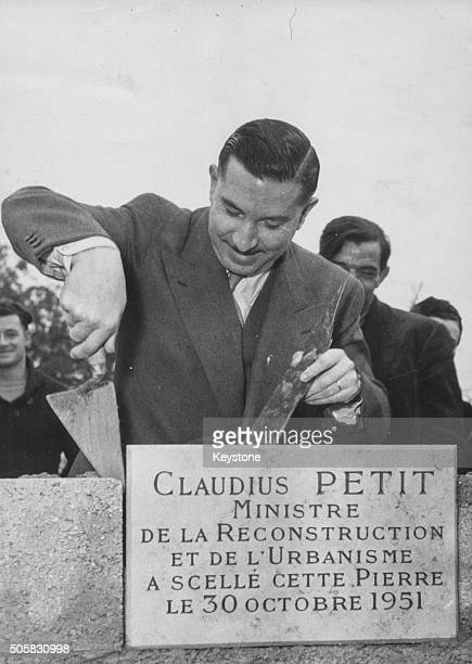 French politician Eugene Claudius Petit Minister of Reconstruction laying down the first brick at Montmorency where a block of flats will be built...
