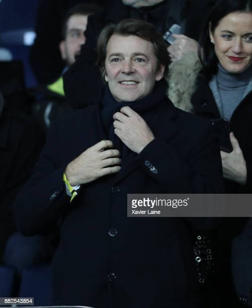 French politician Francois Baroin attends the Ligue 1 match between Paris Saint-Germain and Troyes Estac at Parc des Princes on November 29, 2017 in...