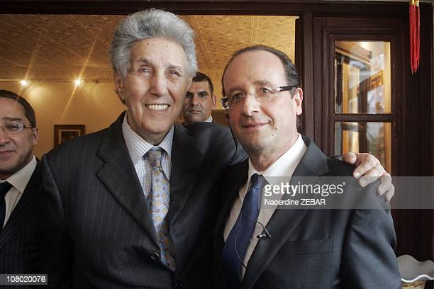 French politician Francois Hollande with former Algerian President Ahmed Ben Bella during his visit to Algeria on December 8 2010 in Algier Algeria