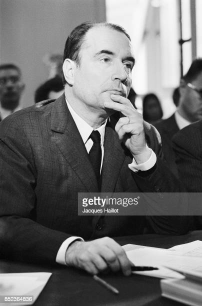 French politician Francois Mitterand debates with the Minster of Finance and Economic Affairs Valery Giscard D'Estaing at the radio station Europe 1