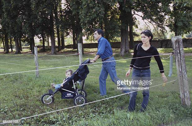 French politician François Fillon with his children Marie and Arnaud, 1st September 2002. Fillon is Minister of Social Affairs, Labour and Solidarity...