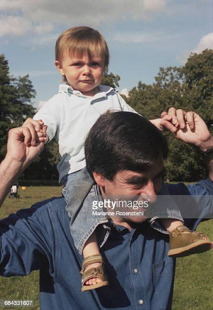 French politician François Fillon with his son Arnaud 1st September 2002 Fillon is Minister of Social Affairs Labour and Solidarity in the...