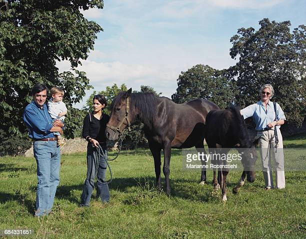 French politician François Fillon with his wife Penelope Clarke and their children Marie and Arnaud, 1st September 2002. Fillon is Minister of Social...