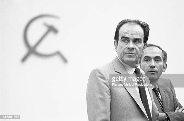 French politician Georges Marchais and politician Charles Fiterman attend the 1982 French Communist Party congress in Paris At the convention...