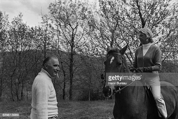 French politician Georges Pompidou with his wife Claude in Cajarc