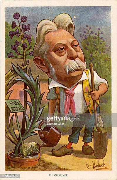 JC French politician in the Third Republic 17 March 1849 – 19 July 1919 Depicted watering a plant labelled 'Palma Academica'