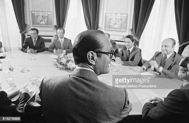 French politician Jacques Chirac attends a meeting of the main formations of the majority He founded the French political party Rassemblement pour la...