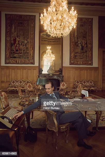 French politician Jacques Chirac mayor of Paris in his office at the Hotel de Ville