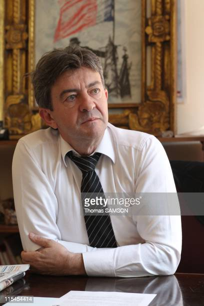 French politician JeanLuc Melenchon leader of Left Party and Communists candidate for the upcoming French presidential election in 2012 during a...