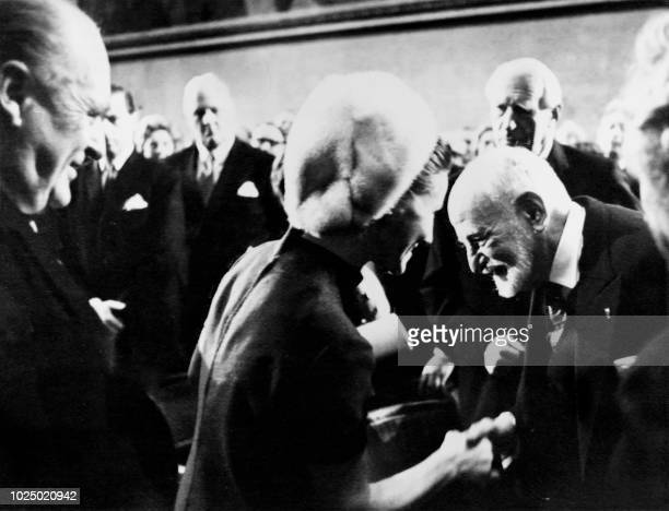 French politician jurist and diplomat René Cassin receives from Princess Sonja of Norway's hands the Nobel Peace Prize on November 11 1968 during the...