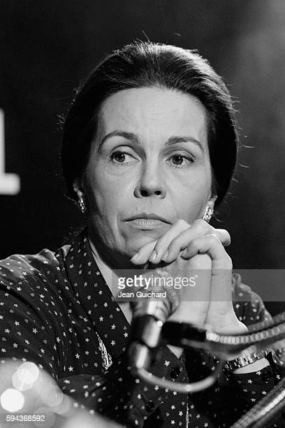 French politician MarieFrance Garaud during the recording of a radio news broadcast