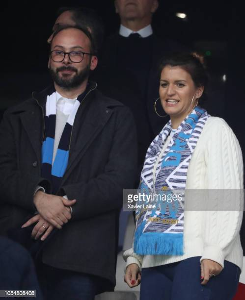 French politician Marlene Schiappa and her husband Cedric Bruguiere attends the French Ligue 1 match between Olympique Marseille and Paris...