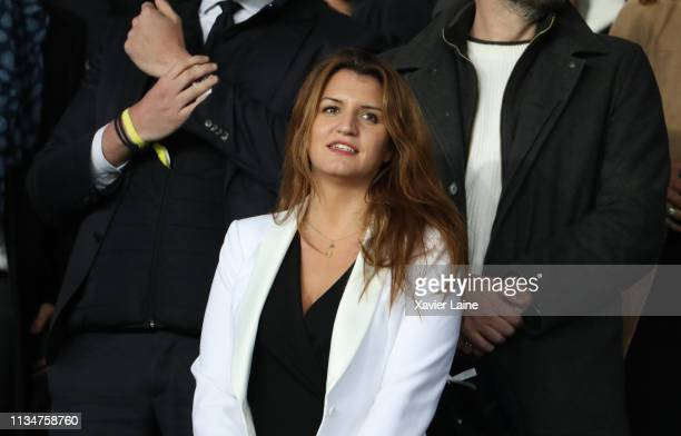French politician Marlene Schiappa attends the French Cup - Semi Final match between Paris Saint-Germain and FC Nantes at Parc des Princes on April...