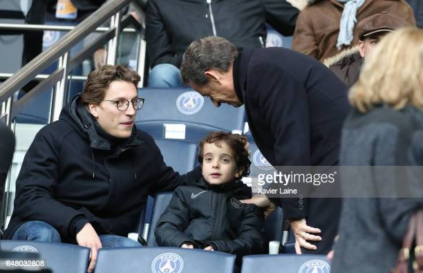 French Politician Nicolas Sarkozy and his son Jean Sarkozy and grandson Solal Sarkozy attend the French Ligue 1 match between Paris SaintGermain and...