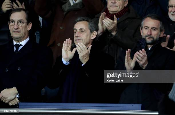 French politician Nicolas Sarkozy attends the Ligue 1 match between Paris SaintGermain and Dijon FCO at Parc des Princes on January 17 2018 in Paris