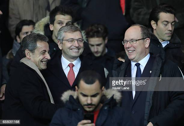 French Politician Nicolas Sarkozy Dmitri Rybolovlev and Prince Albert II of Monaco attend the French League 1 match between Paris SaintGermain and AS...