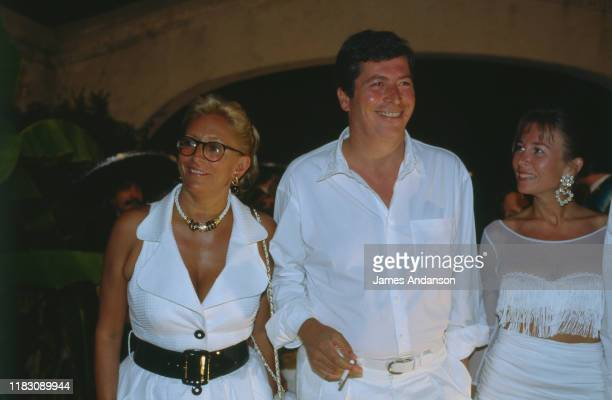 French Politician Patrick Balkany and his wife Isabelle Balkany attending Eddy Barclay's party in Port Grimaud, 24th July 1992