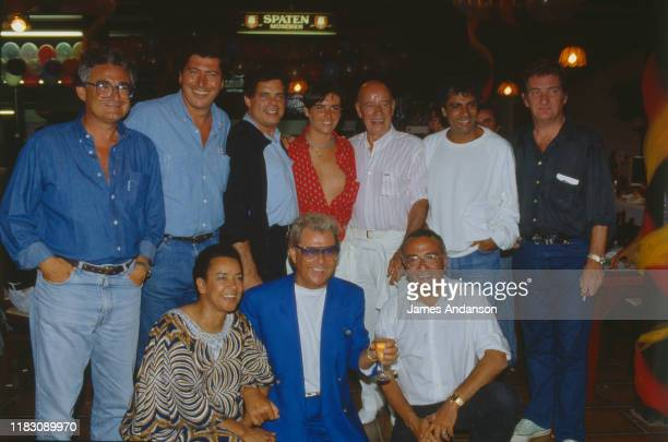 French Politician Patrick Balkany attending Yves Mourousi and his wife's party at La Foux Left to right 1st raw Rhoda Scott Michou Yves Mourousi Left...