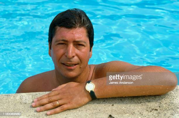 """French politician Patrick Balkany, mainly known as the Mayor of Levallois Perret, posing in his pool during his summer holidays in his villa """"La..."""