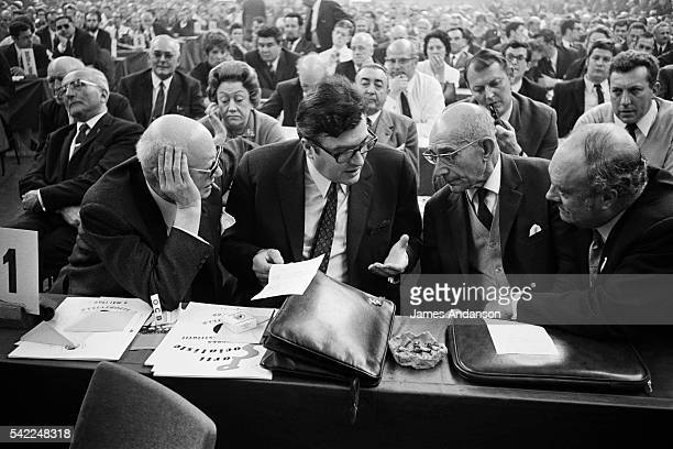 French politician Pierre Mauroy from the Section francaise de l'Internationale ouvriere at the congress founding the French Socialist Party.