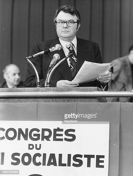 French Politician Pierre Mauroy speaking at Socialist Party Congress circa 1975