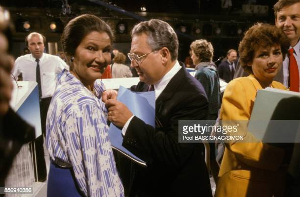 French politician Simone Veil left to attend political Tv show with journalists Gerard Carreyrou Michele Cotta and Etienne Mougeotte on June 8 1989...