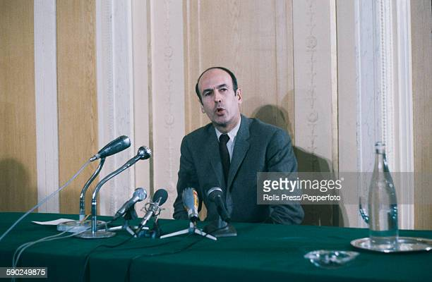 French politician Valery Giscard d'Estaing pictured at a press conference in France in 1968.