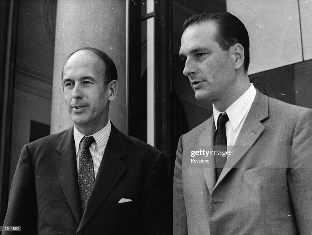 French politician Valery Giscard D'Estaing with finance minister Jacques Chirac.