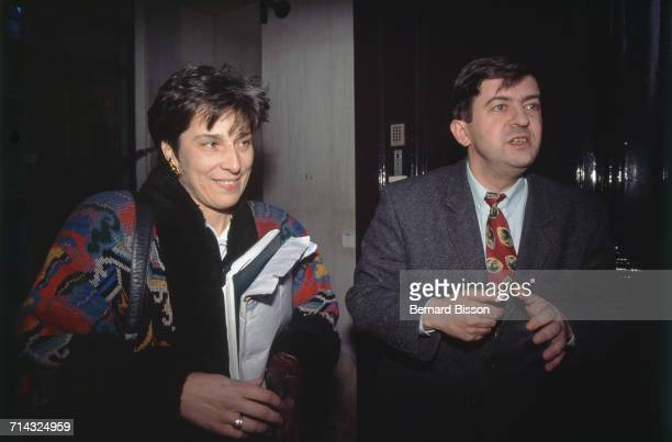 French politicians MarieNoëlle Lienemann and JeanLuc Mélenchon at a Socialist Party meeting 11th January 1995