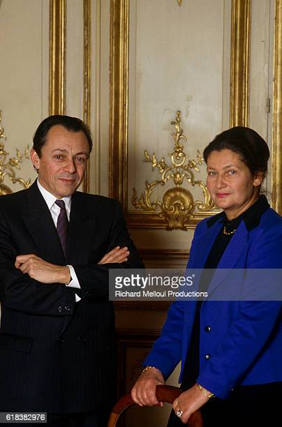French politicians Michel Rocard and Simone Veil attend a debate organized by the magazine Le Nouvel Observateur. Rocard and Veil are running for...
