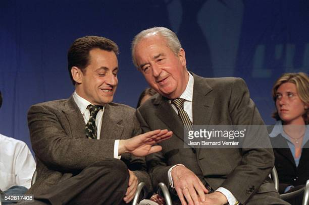 French politicians Nicolas Sarkozy and Edouard Balladur appear at the 1999 European elections The two were representing the Rassemblement pour la...