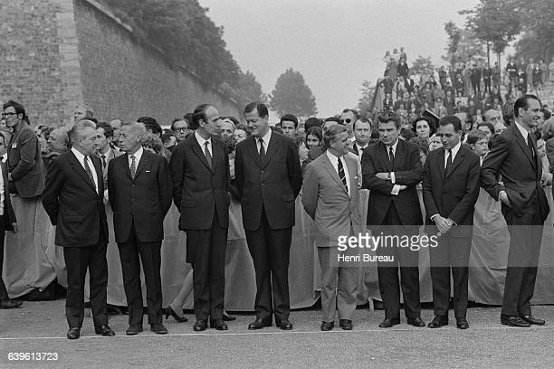 French politicians Valery Giscard d'Estaing Olivier Guichard Jacques Duhamel and Jacques Chirac attend the commemoration ceremony for June 18 1940 at...