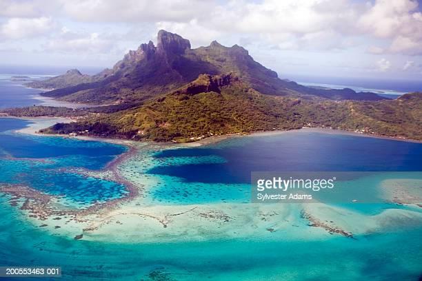french polynesia, bora bora island, aerial view - polynesia stock pictures, royalty-free photos & images
