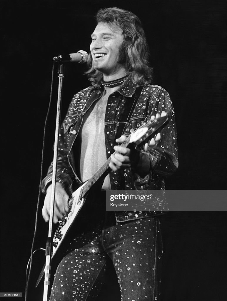French pop star Johnny Hallyday on stage at the Palais Des Sports stadium, Paris, 27th September 1971.