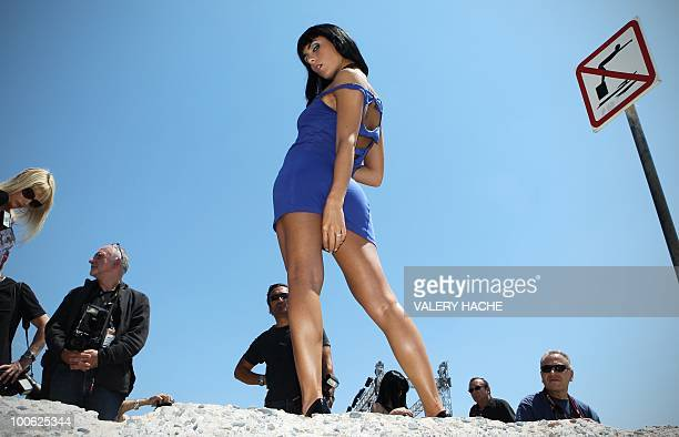 French porn star Jade Laroche poses during a Marc Dorcel's production photocall on the sidelines of the 63rd Cannes Film Festival on May 22 2010 in...