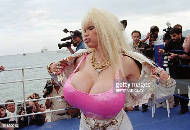 French pornstar Lolo Ferrari whose real name is Eve Valois poses for photographers 13 May 1996 in Cannes French Riviera Lolo Ferrari found fame...