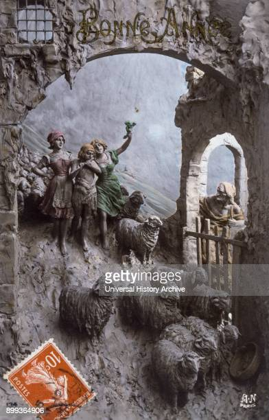 French postcard dated circa 1900 showing a relief scene of shepherds tending a flock