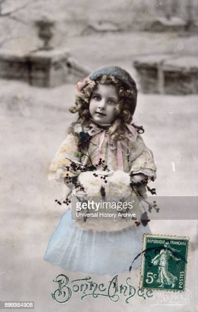 French postcard dated circa 1900 showing a small girl