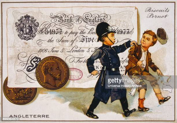 French postcard of 1900 depicting a British policeman arresting a boy set against a five pound banknote