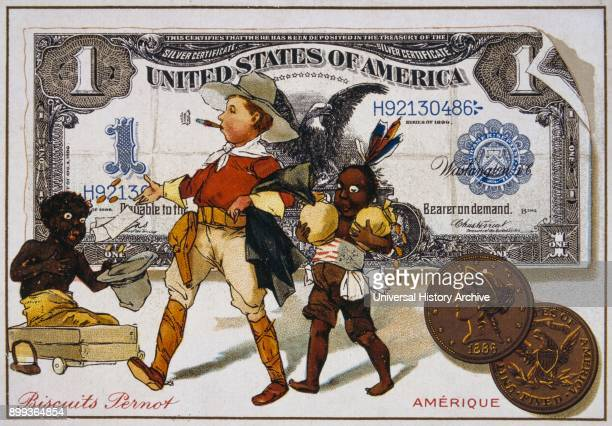 French postcard of 1900 depicting an American cowboy followed by an Indian and addressing a negro boy Set against a one dollar banknote