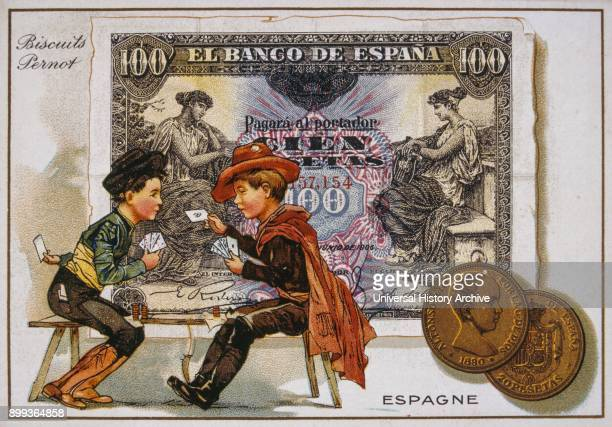 French postcard of 1900 depicting two medieval card players against a 100 Pesetas banknote.